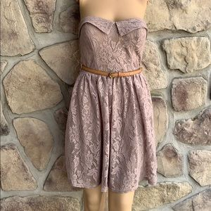 Vintage Mauve Strapless Mini Dress  City Triangles